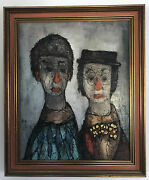 """Midcentury Hugo Casar """"couple"""" Oil On Board Painting Signed Framed"""