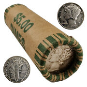 [lot Of 50] Unsearched Mercury Dimes Roll 90 Silver