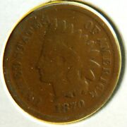 1870 - Tough Date - Indian Head Cent / Penny - Rare Shallow And039nand039 Reverse