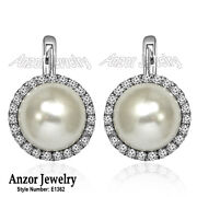 14k Solid White Gold Fresh Water Pearl And Diamond Russian Earrings E1362