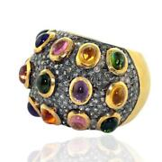 2.61ct Diamond Amethyst Cocktail Ring 18k Gold .925 Sterling Silver Jewelry
