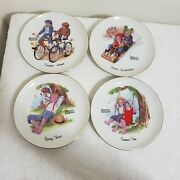 Set Of 4 Norman Rockwell 4 Seasons Plates Decorative Ceramic Collectible