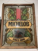 Vtg Michelob Beer Stained Glass Looking Eagle Window Bar Sign Andheuser Busch