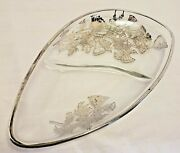Vintage Flanders Silver City Poppies Divided Oblong Dish