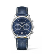 Longines Master Blue Dial Automatic Chrono Leather Strap Mens Watch L27594926