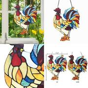 Red Rusty Rooster Stained Glass Window Panel