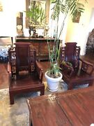 2 Rare Vintage Antique Asian Rosewood Hand Carved Arm Chairs Throne Style