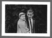 Vintage 1950s Photo Snapshot Cool Slick Looking Young Dad With His Cute Son