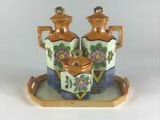 Vintage Lusterware Oil And Vinegar Condiment Set With Tray Floral Made In Japan
