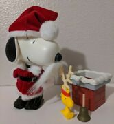 Peanuts Gang Snoopy As Santa Claus 7 Action Figure And Woodstock Complete Loose