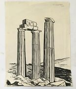 Original Signed 1948 Raul Anguiano Ink Drawing Roman Columns Important Mexico
