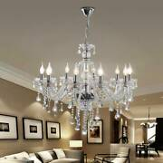 Modern Crystal Glass Chandelier Ceiling Light Pendant Lamp 10 Arms Clear Color