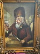 Man In Fur Hat Toasting, Framed Oil Painting 60x90 Cm