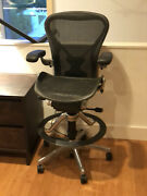 Herman Miller Aeron Drafting Stool With Posture-fit Sl, Fully Adjustable Andchrome