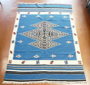 Vintage Mexican Native Chimayo Texcoco Whirling Log Wool Rug 6'2 X 4'6