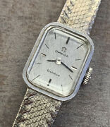 Vintage Solid 18k White Gold Ladies Omega Wrist Watch With Cal. 485 Movement