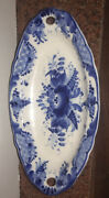 Russian Oval Platter Blue White Traditional Florals Signed 10.5andrdquo Long Russia