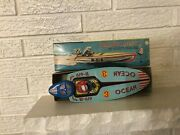 1950and039s Bandai Ocean Race Boat Litho Tin Wind Up Japan Toy W Box B-619