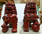 Pair Of Asian Foo Dog Concrete Statues 13 1/2 Tall Foot Up
