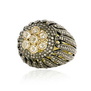 Natural Diamond Filigree Design 14k Yellow Gold 925 Sterling Silver Ring Jewelry