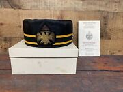 Vintage Masonic 32nd Degree Wings Up Scottish Rite Hat With Box. 7 1/4 Inch 1987
