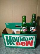 Vintage Mountain Dew Soda Bottle Lot Of 3 - 16 Fl Oz 1970and039s + Carrier 1 Pint