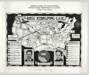 Vtg Fbi Press Photo Charles Ross Kidnapping Case Map 1937 Atwood Gray And Seadlund