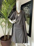 Hermes Womenand039s Over-dye Cashmere Dress W/ Faux Overlay And Belt - Grey/34