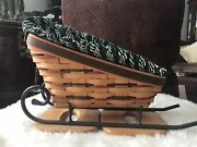 Longaberger 1998 Holiday Sleigh Basket Combo + Wrought Iron Runner Excellent