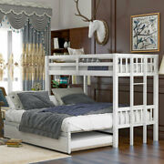 Twin Over Full Bunk Bed Pine Wood Pullout Bed W/ladder Trundle Bedroom Furniture