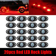 20 Pods Red Led Rock Lights For Jeep Offroad Truck Boat Underbody Trail Rig Lamp
