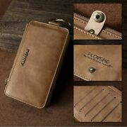 Wallet Cell Phone Case Leather Mobile Cover Card Holder Retro Pouch Accessories