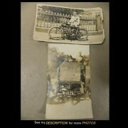 2 Antique Circa 1910 Indian Motorcycle And Fiat Automobile Photographs