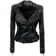 S-6xl Womens Rivets Short Motorcycle Jacket Faux Leather Long Sleeve Punk Rock L