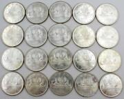 20x 1965 Type Iii Canada Silver Dollars Original Uncirculated Roll Of 20-coins