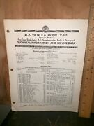 Rca Victor Model V-105 Radio And Phonograph Technical Information Service Data