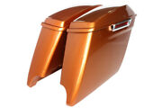 Amber Whisky Color 4.5 Extended Saddlebags For Harley 2014-2020 Dual Cut Latch