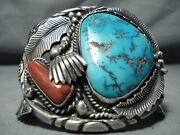 One Of The Best Vintage Navajo Turquoise Coral Sterling Silver Bracelet