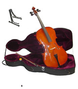 New Solid Wood Ebony Fitted Cellohard Case Bag Bow Stand 4/4 3/4 1/2 1/4 1/8