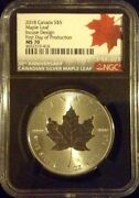 2018 Silver Canada Maple Leaf Incuse Ms70 30th Anniv First Day Of Production