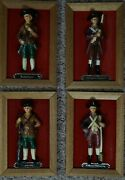 Set 4, Royal Sealy, Wall Plaques Revolutionary War Soldier, Tagged, Framed 7x10