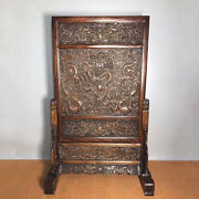 31.4and039and039 Chinese Antique Wood Screen Natural Yellow Rosewood Screen Dragon