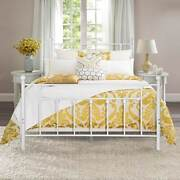 Vecelo Antique White Metal Bed With Pipe Frame Headboardand Footboardtwin Full 3