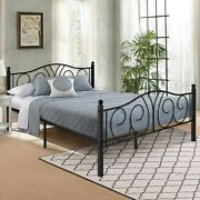 Vecelo Vintage Graceful Classic Scroll Black Iron Bed Frame
