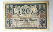 1915 Germany Imperial Banknote 20 Mark +free1 Note10697
