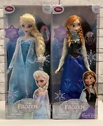 """Disney Store Frozen Elsa And Anna 17"""" Light Up And Sing Dolls Original Release"""
