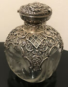 1895 William Comyns London Repousse Sterling Silver Crystal Decanter Bottle
