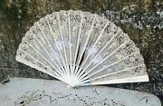 Large Antique White Silk And Lace Hand Fan Victorian Fan With Daisies And Zinnia