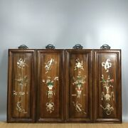 20and039and039 Chinese Antique Wood Screen Natural Yellow Rosewood Screen Flower Vase