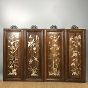 20and039and039 Chinese Antique Wood Screen Natural Yellow Rosewood Screen Flower Bird